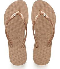 women's havaianas 'slim crystal glamour' flip flop, size 41/42 br - metallic