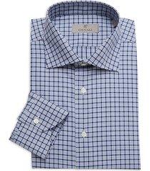 canali men's modern-fit plaid dress shirt - blue - size 39 (15.5)