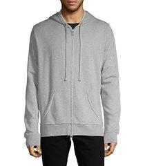 moss zip-up cotton-blend hoodie