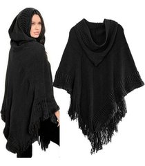 lady hooded knit batwing cape poncho cardigan tassels warm outwear sweater