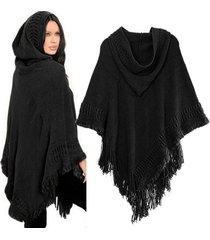 lady hooded knit batwing cape poncho cardigan tassels warm outwear sweater