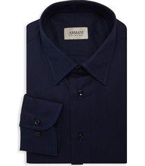 armani collezioni men's solid dress shirt - solid medium blue - size 15.5 39