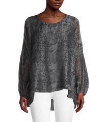 le marais women's printed silk high-low top - charcoal - size s