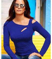 nueva camiseta de manga larga con manga larga y manga corta para mujer.-azul