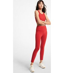 mk leggings in misto nylon con fettuccia con logo - cremisi (rosso) - michael kors