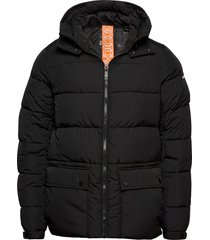 primaloft® down mid-lenght hooded jacket gevoerd jack zwart scotch & soda