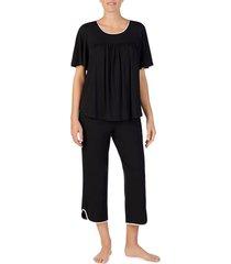 women's kate spade new york cropped pajamas, size small - black