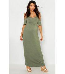 maternity cold shoulder maxi dress, khaki