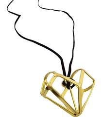 collar de mujer oro pendente geometrico cuore brass colection vestopazzo