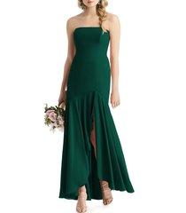 women's after six strapless high/low matte chiffon gown, size 14 - green