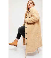 abrigo missguided borg longline shacket beige - calce regular