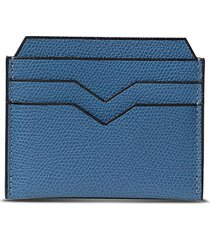 leather card holder - cobalt blue