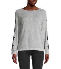 workshop women's star-print sweatshirt - grey heather - size l