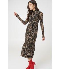na-kd trend leo mesh frill dress - black,brown,beige