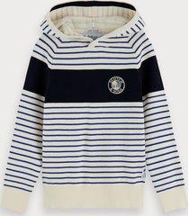 scotch & soda striped knitted hoodie