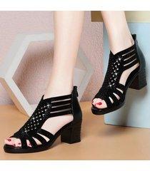 nuevo para mujer peep toe sandalias de tacón alto volver