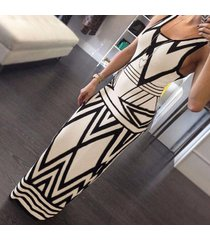 women sexy geometric sleeveless slim fitted long formal evening gown dress