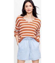 loft petite striped slouchy v-neck sweater