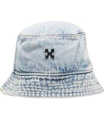 off-white bleached denim bucket hat - blue