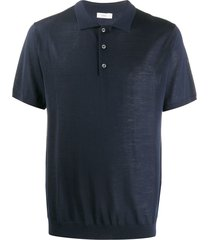 closed short sleeve wool polo shirt - blue