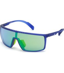adidas 135mm shield sports sunglasses - matte blue/ green mirror