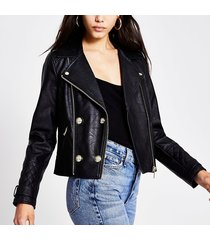 river island womens black faux leather button front crop jacket
