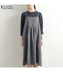 zanzea mujeres con tiras larga camisa de vestir de gran tamaño de la vendimia vestido de tirantes a rayas mini vestido plus -gris