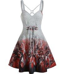 tree print crisscross tie waist mini cami dress