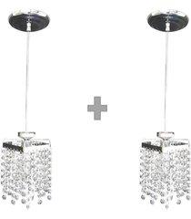 kit 2 lustres pendentes de cristal legãtimo k9 lina design ac66 - prata - dafiti
