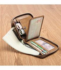 portafoglio trifold da tasca vintage multi-funzionale vera pelle per uomo