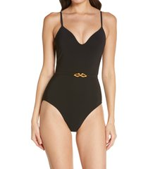 tory burch jessa one-piece swimsuit, size x-large in black at nordstrom