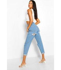 gescheurde mom jeans met hoge taille, lichtblauw