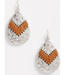 maurices womens hammered metal faux leather wrap teardrop earrings gray