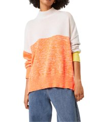 french connection mock-neck colorblocked top