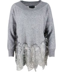 ermanno scervino cowl neck sweater in cashmere with lace at the bottom