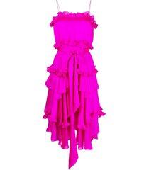 alexandre vauthier ruffle-detail spaghetti-strap dress - pink