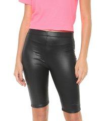bermuda ciclista tricats ajustada lisa preta - preto - feminino - dafiti