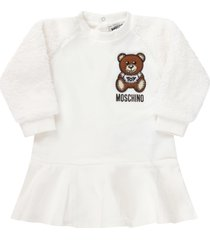 moschino white dress for baby girl with teddy bear