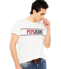 polera pepe jeans manga corta kelian blanco - calce regular
