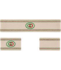 gucci headband and wrist cuffs with interlocking g - neutrals