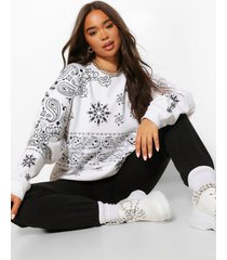 extreme oversized bandana print sweater, wit