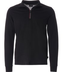 ps by paul smith long sleeve polo shirt with 'sports stripe' half zip - black - d20069-79