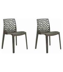 conjunto 02 cadeiras gruv marrom rivatti