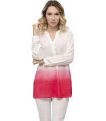 blusa miss joy casual branco/pink