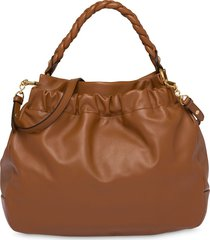 miu miu braided top handle tote bag - brown