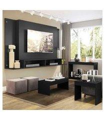 """painel para tv 60"""" com aparador, mesa de centro e mesa lateral tókio multimóveis preto"""