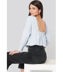 na-kd oxford long sleeve shirt with open back - blue