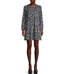 emma & michele women's botanical-print tiered mini dress - blue green multi - size l