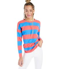 style & co striped crewneck sweatshirt, created for macy's