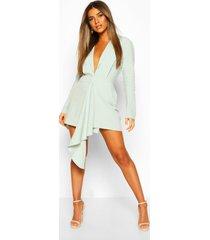 petite wrap front blazer dress, mint